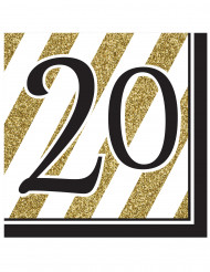 16 Serviettes en papier 20 ans noires et dorées 33 x 33 cm