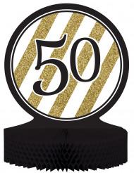 Centre de table en papier alvéolé 50 ans noir et doré 23 x 30 cm