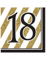 16 Serviettes en papier 18 ans noires et dorées 33 x 33 cm