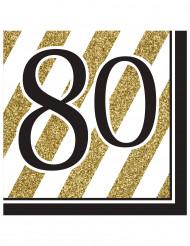16 Serviettes en papier 80 ans noires et dorées 33 x 33 cm