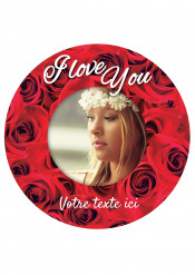 Disque en sucre personnalisable I Love You 20 cm