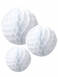 3 Boules en papier alvéolé blanc 15, 20 et 25 cm