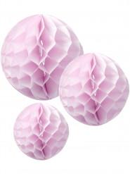 3 Boules en papier alvéolé rose 15, 20 et 25 cm