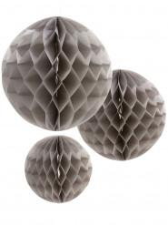 3 Boules en papier alvéolé gris 15, 20 et 25 cm