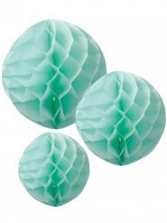 3 Boules en papier alvéolé menthe 15, 20, 25 cm