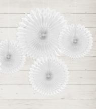 3 Rosaces éventails en papier blanc 20, 25 et 30 cm