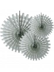 3 Rosaces éventails en papier gris 20, 30 et 40 cm