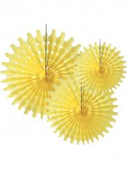 3 Rosaces éventails en papier jaune pastel 20, 25 et 30 cm