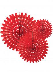 3 Rosaces éventails en papier rouge 20, 25 et 30 cm