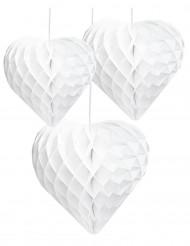 3 Cœurs en papier alvéolé blanc