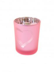 Photophore en verre givré rose cœur 7 x 5,5 cm
