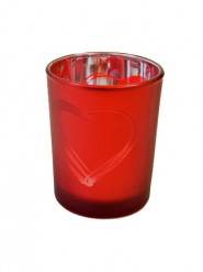 Photophore en verre givré rouge cœur