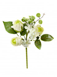 Petit bouquet de roses ivoire artificielles 18 x 12 cm