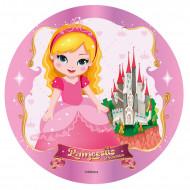 Disque en sucre pour gâteau Princesse 20 cm