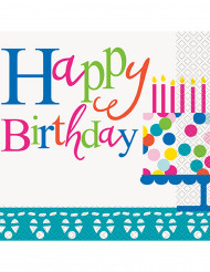 16 Serviettes en papier Happy Birthday turquoises 33 x 33 cm