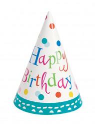 Chapeaux de fête Happy Birthday turquoise