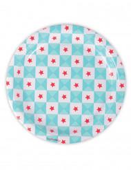 8 Assiettes en carton géométrie bleues 23 cm