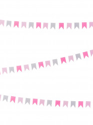 Mini guirlande petits fanions gris et roses 2 m