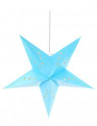 Lanterne étoile bleu glacier 60 cm