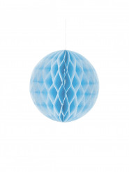 Mini boule papier alvéolé bleu ciel 12 cm