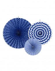 3 Rosaces en papier bleu marine
