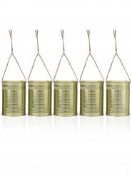 5 Décorations boites de conserve à suspendre 10 x 7 cm