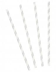 10 Pailles en carton rayées argentées 19,5 cm
