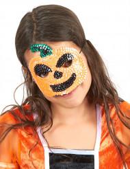 Demi-masque à sequins citrouille enfant Halloween