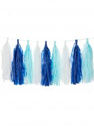 Guirlande tassel 18 pompons bleu nuit, blancs et bleu ciel