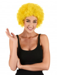 Perruque afro/clown jaune adulte