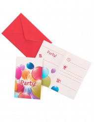 6 Cartes d'invitation ballons volants