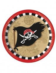 8 Assiettes en carton Carte au trésor Pirate 23 cm