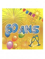 20 Serviettes en papier 60 ans Anniversaire Fiesta 33 cm