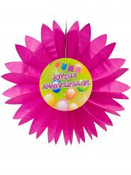 Eventail papier joyeux anniversaire Fiesta rose 50 cm