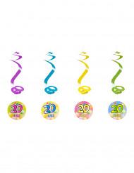 4 suspensions spirale 20 ans Fiesta 60 cm