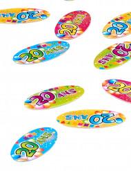 80 Confettis de table papier 20 ans Fiesta 4 x 2 cm