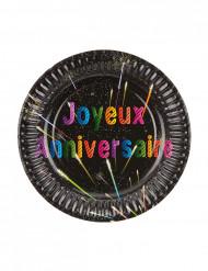 6 Petites assiettes carton anniversaire Feux d'artifice 18 cm