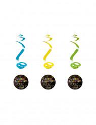 4 Suspensions spirales Joyeux Anniversaire feux d'artifice 60 cm