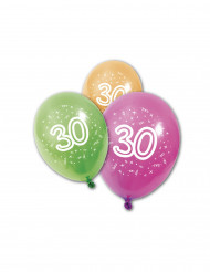 8 Ballons en latex anniversaire 30 ans 30 cm