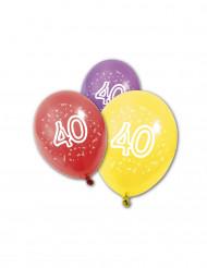 8 Ballons en latex anniversaire 40 ans