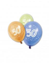 8 Ballons en latex anniversaire 50 ans 30 cm