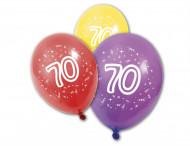 8 Ballons en latex anniversaire 70 ans 30 cm