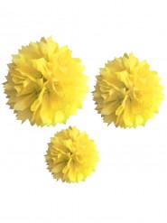 3 Pompons jaunes en papier 20, 30 et 40 cm