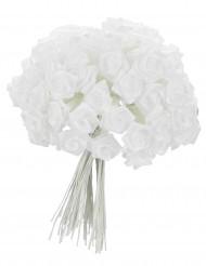 72 Mini-roses satin blanc 8 cm