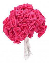 72 Mini roses satin fuchsia 1 x 8 cm