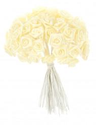 48 Mini roses satin ivoire 1 x 8 cm