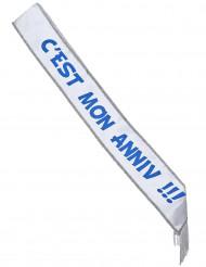 Écharpe en satin c'est mon anniv !!! blanche et bleue 150 x 10 cm