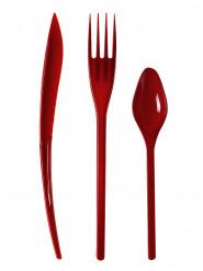 30 Couverts en plastique rouge sombre - Premium