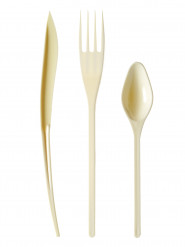 30 Couverts en plastique ivoire - Premium