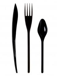30 Couverts en plastique noir - Premium